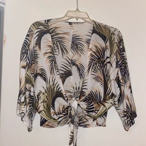 Tropical palm print O'Neill tie front top